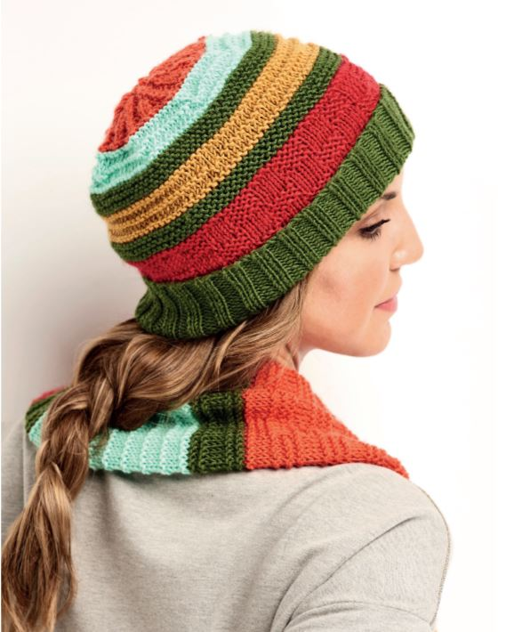 Free Knitting Pattern for a Stripe Hat, Gloves and Cowl