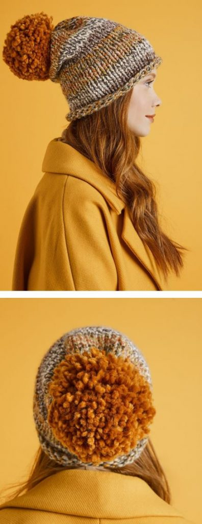 Free knitting pattern for a Bulky Yarn Hat Pattern.