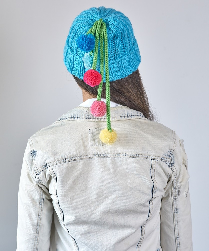 Free Knitting Pattern for Ribbed Hat with Pompom Tassels