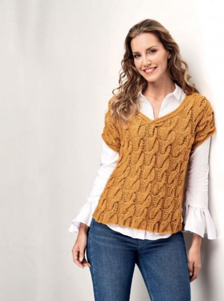 Free Knitting Pattern for a Cable Tunic Top