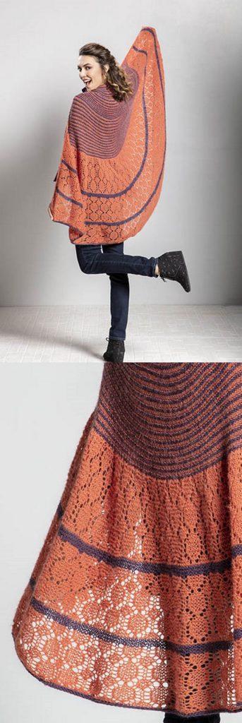 Free Knitting Pattern for a Lace Shawl Magma, Lace semi circle shawl pattern