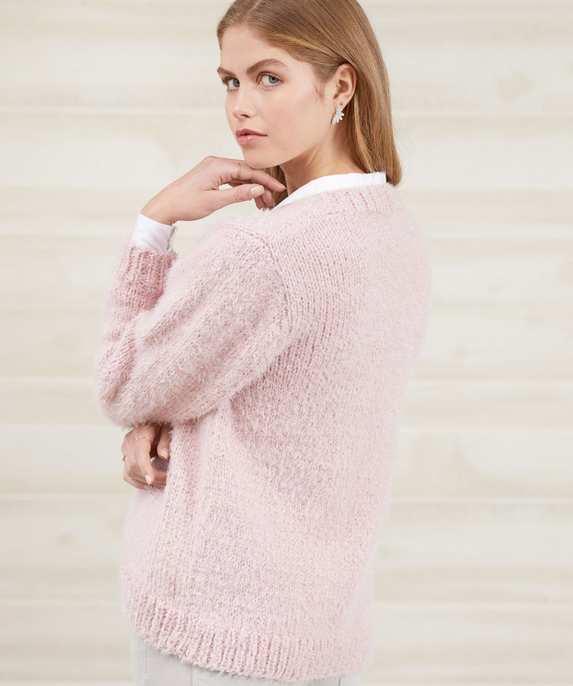 Free Knitting Pattern for a No-Button Cozy Knit Cardigan for women with long sleeves and knit in bulky yarn.