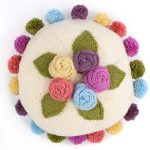 Free Knitting Pattern for a Pearl Round Floral Cushion