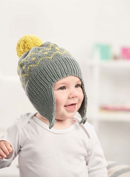 Free Knitting Pattern for a Pom-pom Baby Hat with Easy Flaps. Colorwork baby hat pattern with ribbing edge.