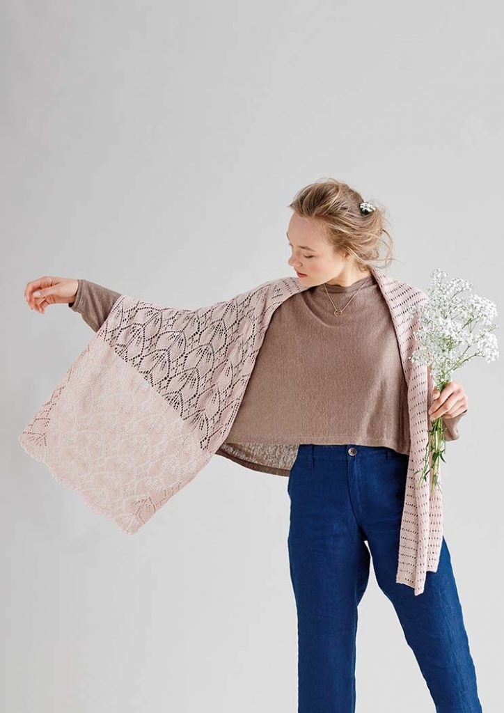 Free Knitting Pattern for a Rose Leaf Lace Scarf