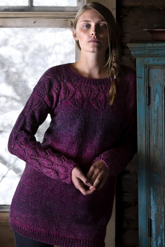Free Knitting Pattern for a Women's Lace Tunic in Variegated Yarn