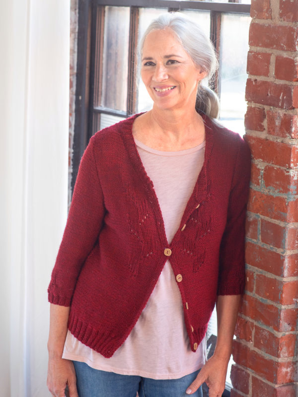Free Knitting Pattern for an Eyelet Stitch Cardigan