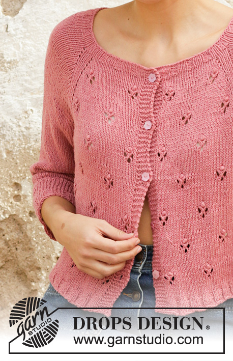 Free Knitting Pattern for a Lace stitch Ladies Raglan Cardigan