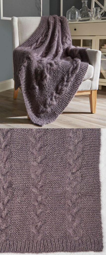 Cable and garter chunky knit blanket pattern free