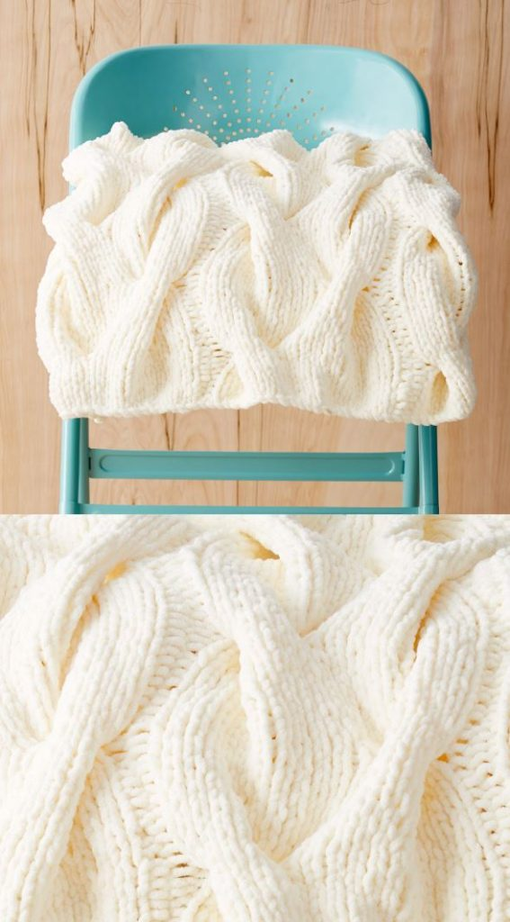 Chunky Cable Knit Blanket Pattern Free