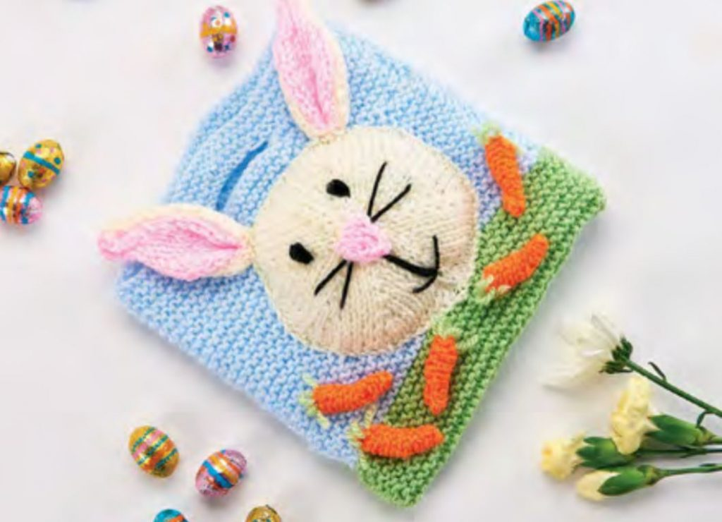 Free Knitting Pattern for Quick Easter Gift Bags - Easter bunny theme