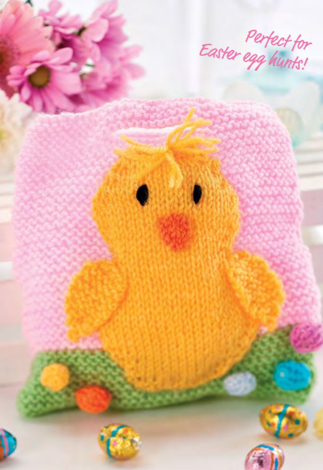Free Knitting Pattern for Quick Easter Gift Bags - Easter Chick Theme