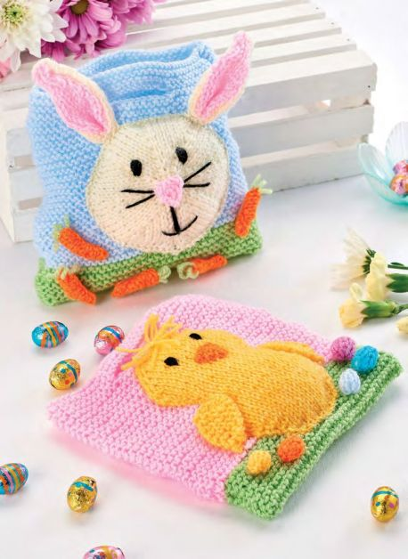 Free Knitting Pattern for Quick Easter Gift Bags