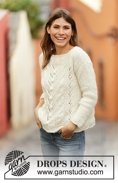 Free Knitting Pattern for a Bobble, Lace and Cable Sweater