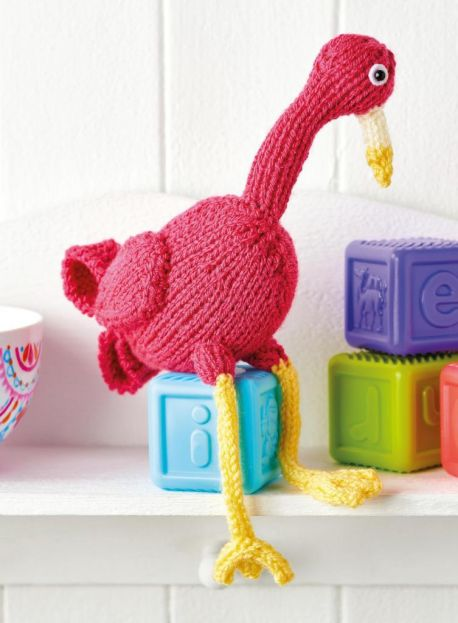 Free Knitting Pattern for a Flamingo Toy