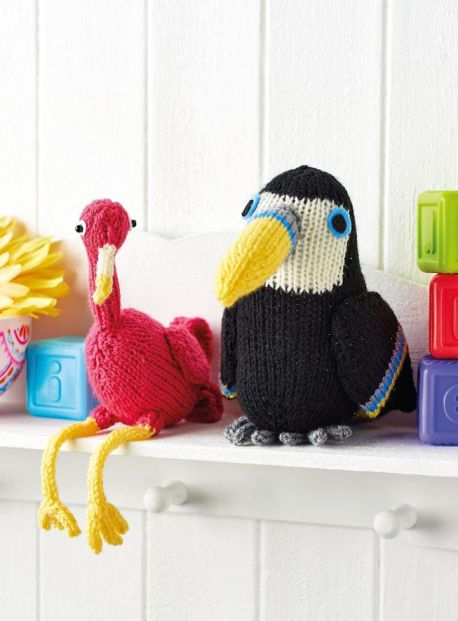 Free Knitting Pattern for a Flamingo and Toucan Toy