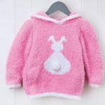 Free Knitting Pattern for a Fluffy Bunny Jumper for Kids with a Hood- Great for Easter.