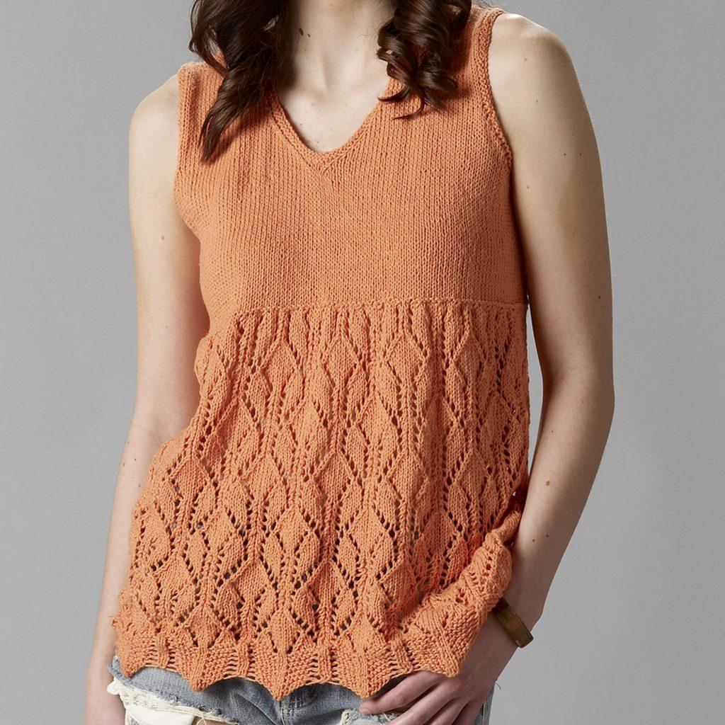 Free Knitting Pattern for a Lace Sleeveless Tunic