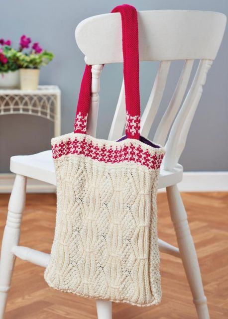 Free Knitting Pattern for a Mock Cable Eco Shopping Bag