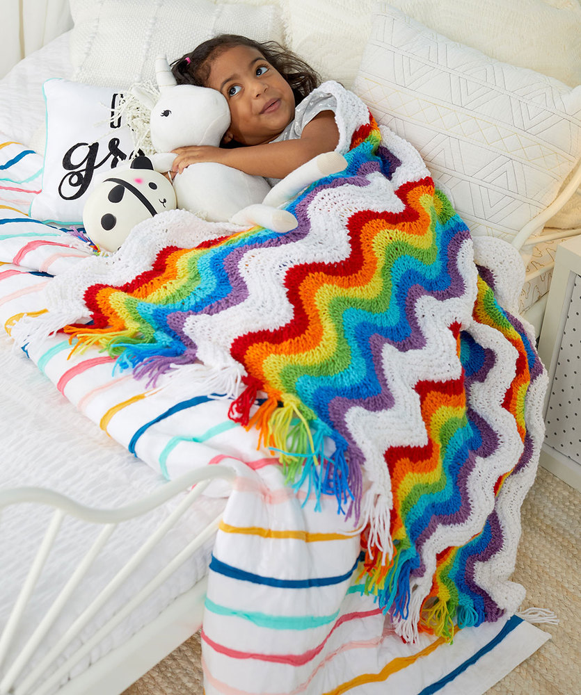 Free Knitting Pattern for a Rainbow Ripple Stitch Throw