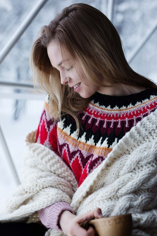 Free Knitting Pattern for a Warm Blanket with Cables