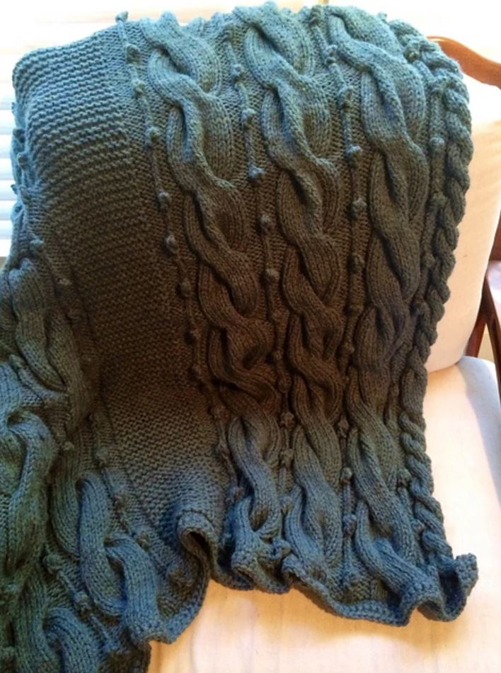 Free knitting pattern for a cable and bobble chunky blanket