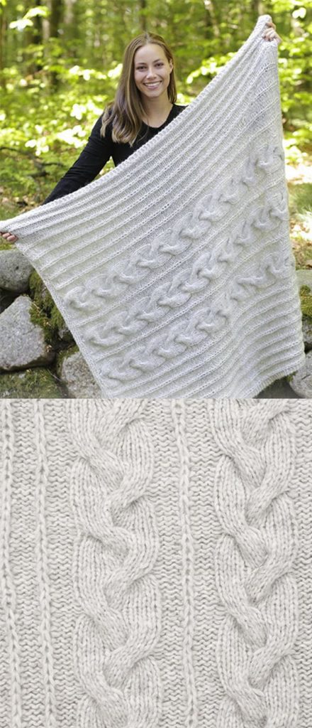 Free knitting pattern for a chunky cable blanket