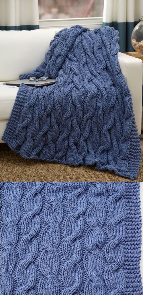 classic chunky cable knit blanket pattern