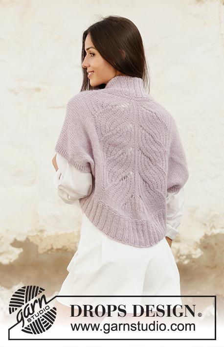 Free knitting pattern for a lace bolero shrug knit in kidsilk