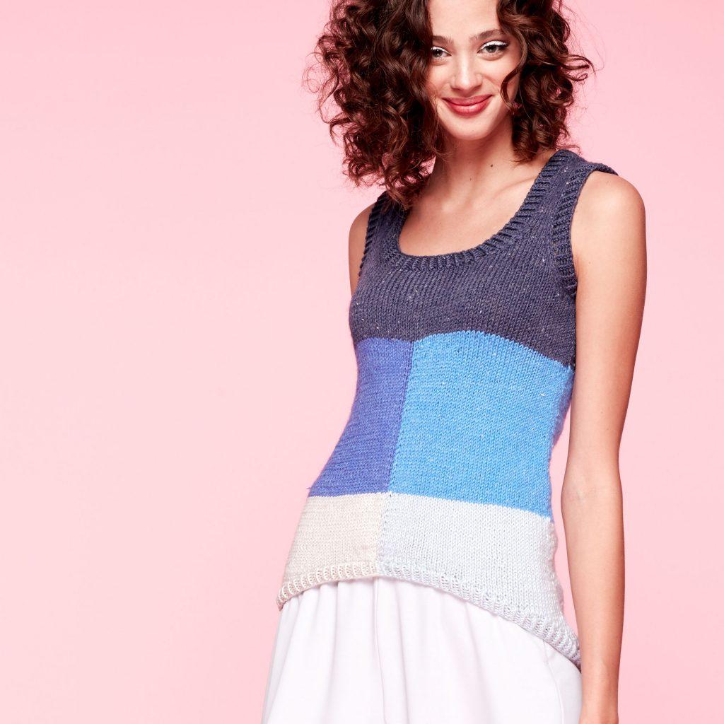 Free Knitting Pattern for a Block Knit Tank