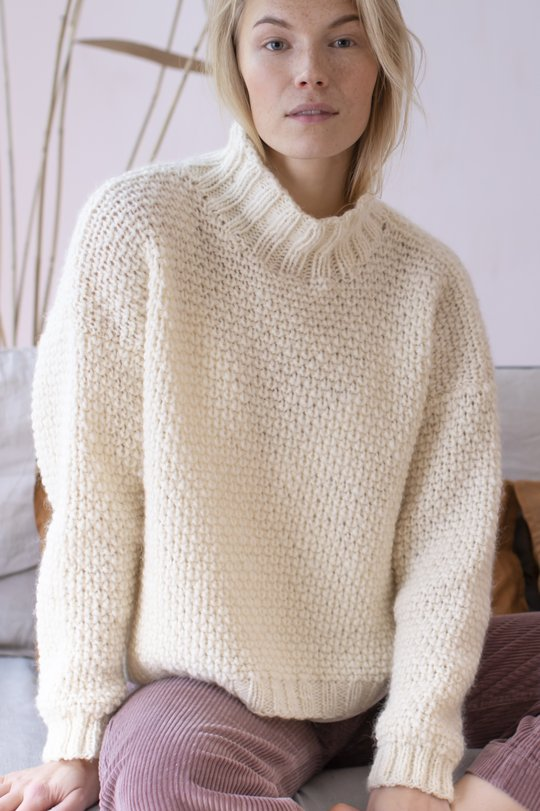 Free Knitting Pattern for a Bulky Sweater with an Upright Collar