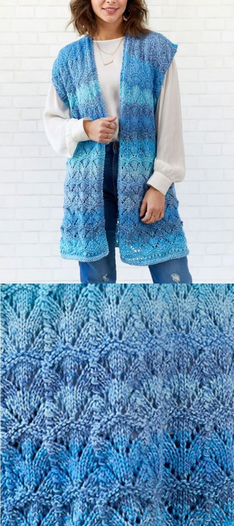 Free Knitting Pattern for a Long Ladies Vest with a Lace Pattern