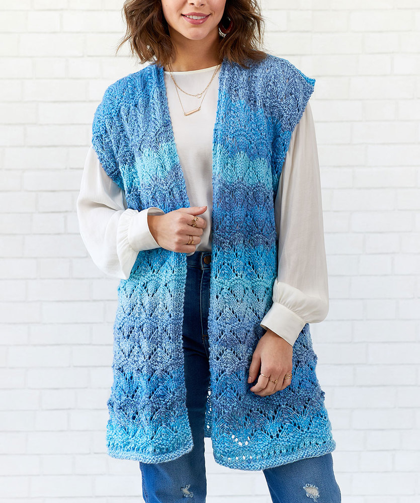 Free Knitting Pattern for a Long Ladies Vest with a Lace ...