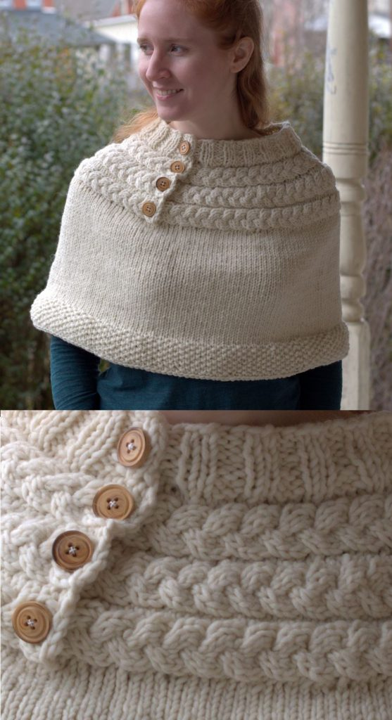 Free Knitting Pattern for a Mini Poncho with a Cable Yoke