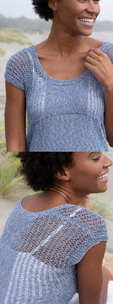 Free Knitting Pattern for a Pretty Ladies Top with Lace