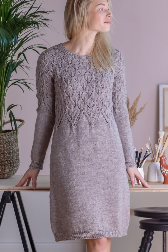 Free Knitting Pattern for a Top Down Dress with Lace Bodice