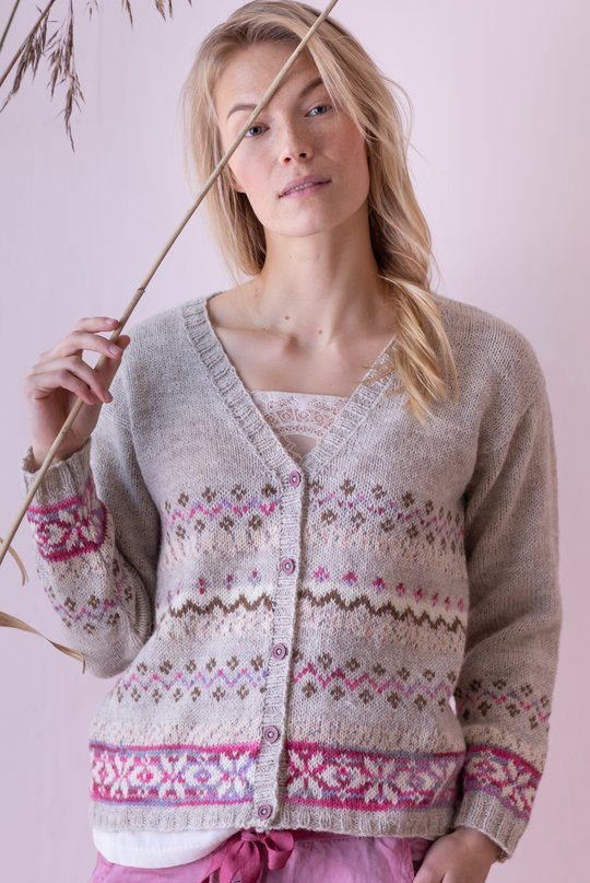 Free Knitting Pattern for a Woman's Colorwork Cardigan in Pink