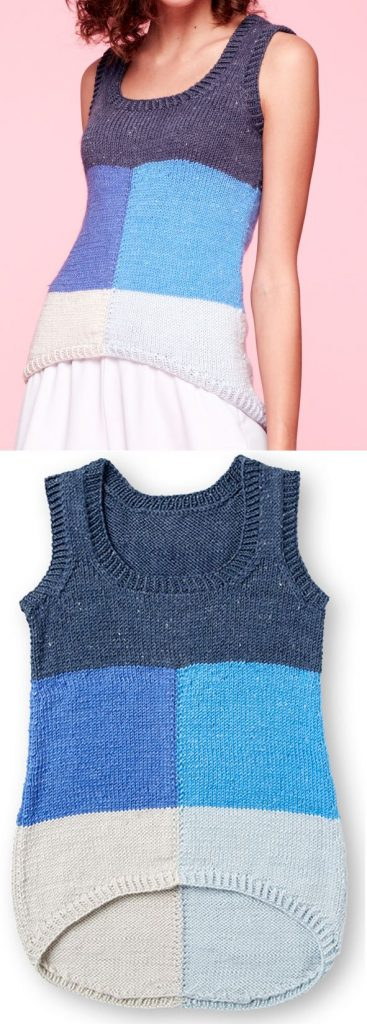 Free Summer Knitting Patterns 2019 for a Modern Color Block Tank Top
