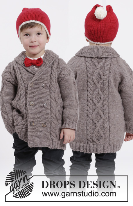 Free knitting pattern download for kids cabled jacket set