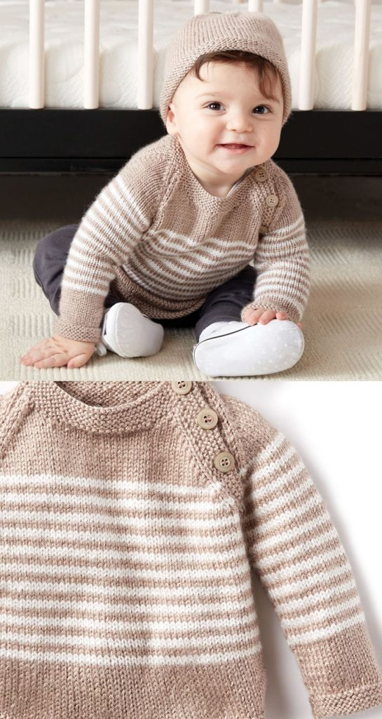 Free Baby Sweater Knitting Patterns - pullover with stripes