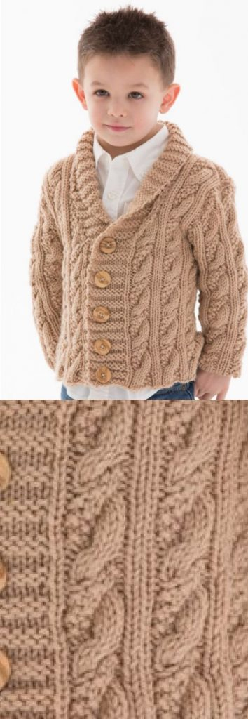Free Children's Knitting Patterns to Download Cardigan with Cables for Boys