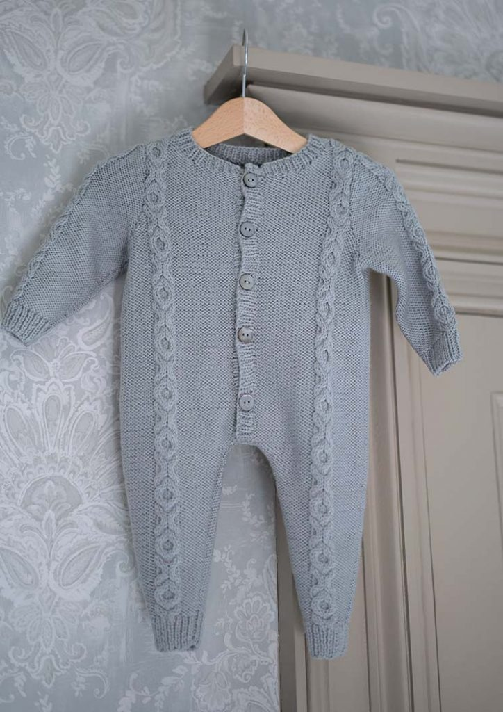 Free Knitting Pattern for a Baby Playsuit with cable stitch
