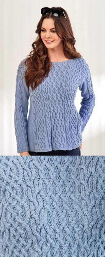 Free Knitting Pattern for a Debbie Bliss Cable Jumper