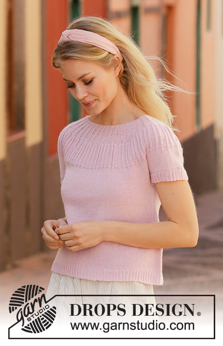 Free Knitting Pattern for a Ladies Top with Ribbed Yoke