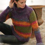 Free Knitting Pattern for a Moss Stitch High Neck Women's Sweater