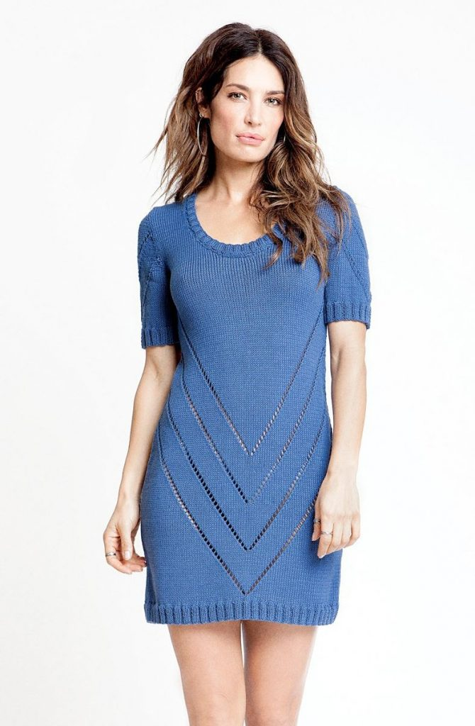 Free Knitting Pattern for a Short Modern Dress for Ladies