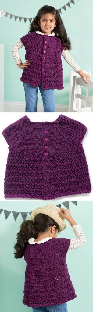 Free Pattern for a Chic Girly Knit Cardigan. Free Knitting Pattern for girls.