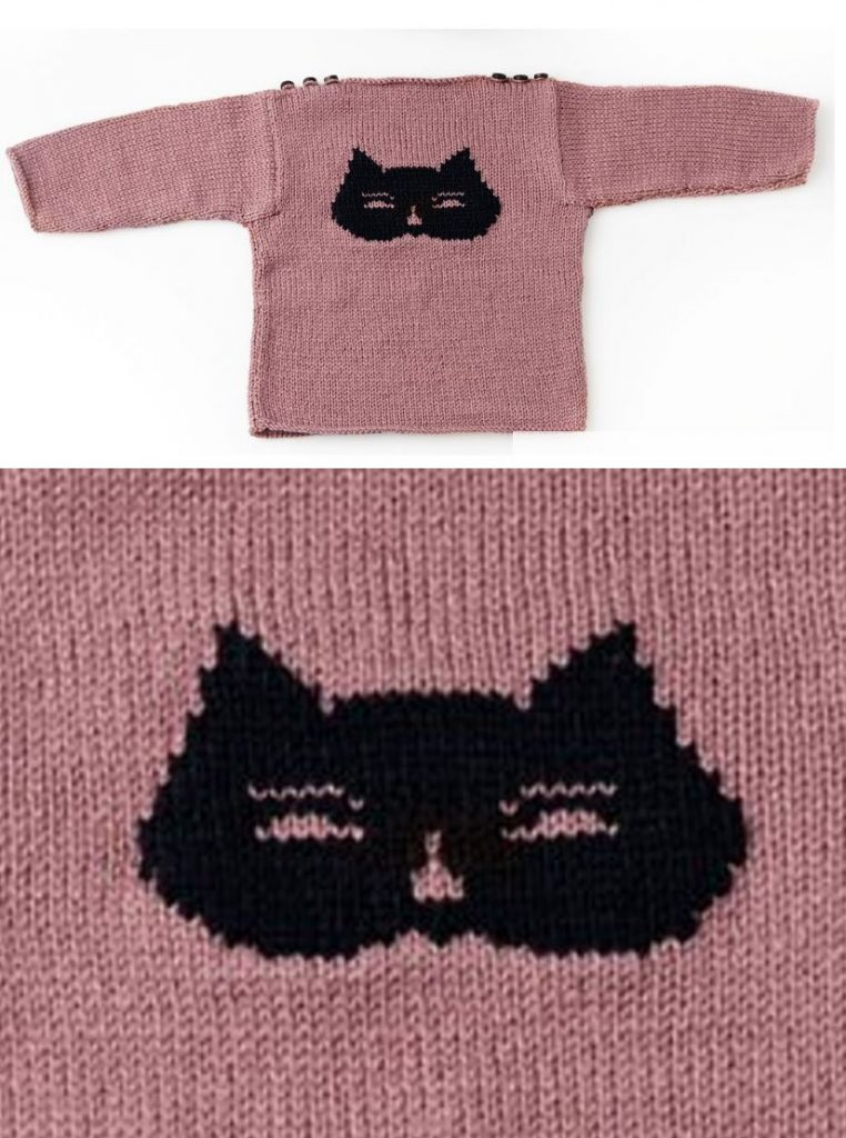 Free knitting pattern for a baby 3 to 12 months sweater with cat theme