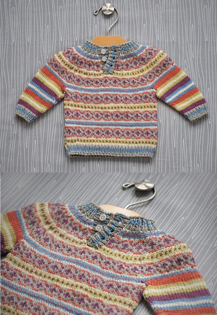 free knitting pattern for a colorwork baby sweater