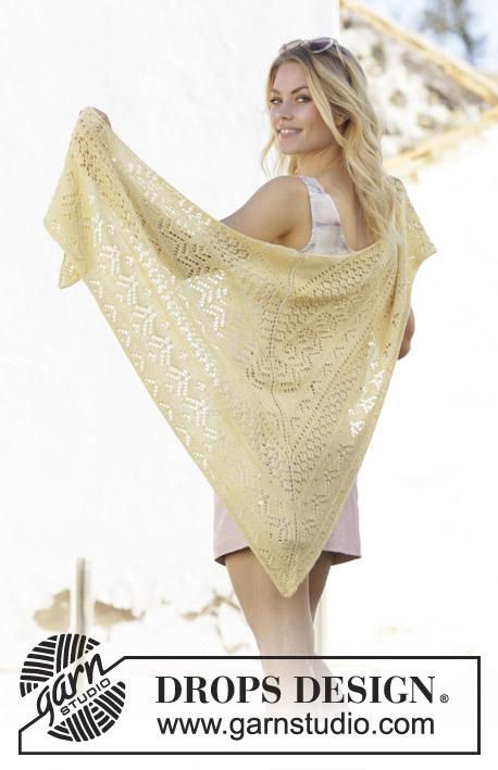 Free Knitting Pattern for a Lace Shawl Lemon Heart